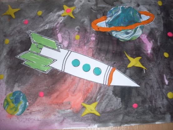 рисунок космоса своими руками