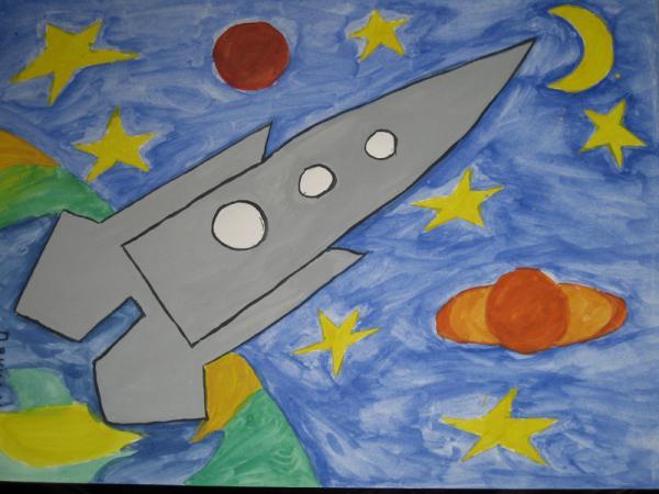 Рисунок своими руками на день космонавтики